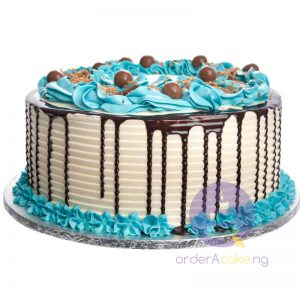 Blue Swirl Buttercream Cake