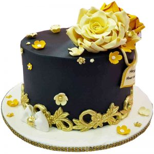 Black and Gold Fondant Cake