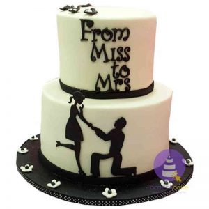 Monochrome Engagement Cake