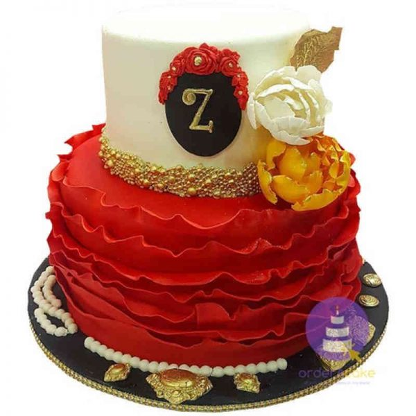 A-Class Ruffles Fondant Cake
