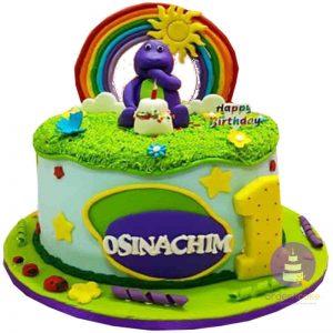 Barney Buttercream Cake