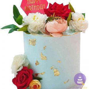 Flowery Whipped Cream Cake